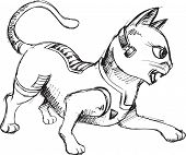 Cat Warrior Sketch Doodle Vector Illustration Art