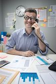 Nerd Office Worker On The Phone