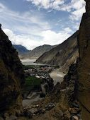 picture of mustang  - The Himalayan city Kagbeni as seen from a rocky gorge in the Annapurna Himalayas of Mustang Nepal during monsoon - JPG