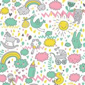Gentle baby's seamless pattern in bright colors. Toys, children's clothes, animals in the sky. Best pattern for wrapping paper for babies