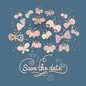 Beautiful Save the date concept illustration. Cartoon butterflies on blue. Cute stylish wedding invitation.