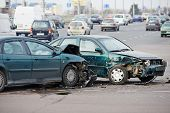 stock photo of wrecking  - car crash accident on street - JPG