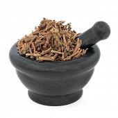 Korean mint used in chinese herbal medicine in a marble mortar with pestle over white background. Huo Xiang.