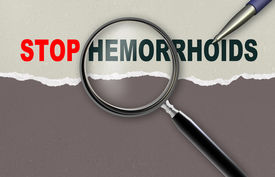 pic of rectum  - word STOP HEMORRHOIDS and magnifying glass with pencil made in 2d software - JPG