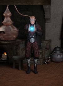 pic of sorcerer  - Fantasy illustration of a sorcerer creating a magical blue fireball in his laboratory - JPG