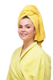 picture of birthmark  - Beautiful and cheerful young woman with birthmark in bathrobe and towel - JPG