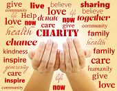 stock photo of word charity  - Hands with word Charity on color background - JPG