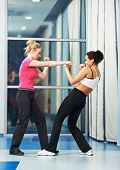 stock photo of physical exercise  - group of woman in gym at fitness physical martial art fighting training exercise in sport wear - JPG