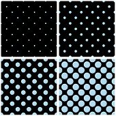 image of dot pattern  - Seamless vector pattern set with sailor navy blue polka dots on black background - JPG