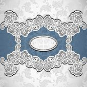 pic of vintage jewelry  - Vintage background with seamless pattern in silver blue colors for invitation or congratulation or for package perfumer - JPG