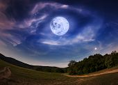 pic of moon stars  - Beautiful night sky with the full moon and stars - JPG