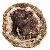 picture of hollow  - a small crib inside a hollow geode isolated over a white background - JPG