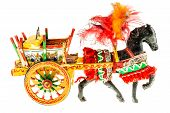 stock photo of paint horse  - Folkloristic traditional sicilian horse cart isolated over a white background - JPG