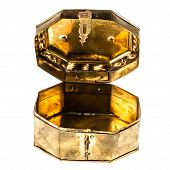 picture of casket  - a ancient golden casket isolated over a white background - JPG