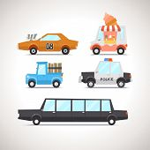 pic of ice-cream truck  - Vector Flat Cartoon Vehicles on white background - JPG