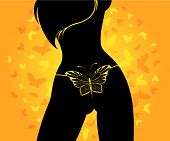 picture of striper  - silhouette of beautiful womanish body on a background with butterflies - JPG
