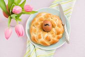 picture of moustache  - Hipster Easter breakfast table with moustache Easter egg - JPG
