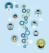 pic of entrepreneurship  - Illustration of project team working process from manager to customer - JPG