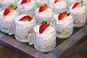 stock photo of buffet  - Closeup of sweet tasty dessert on buffet background - JPG
