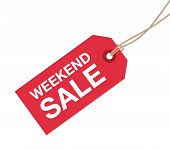 stock photo of going out business sale  - a red and white weekend sale sign - JPG