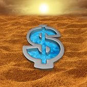 image of save water  - Financial relief and debt help concept as a dollar sign shaped swimming pool with fresh cool water in a hot dry sand desert as a money metaphor for economic salvation or drought symbol - JPG