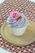 foto of sugarpaste  - sweet dessert cupcakes on white background clearly - JPG