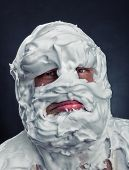 picture of shaved head  - Crazy man with face completely in shaving foam - JPG