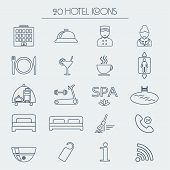 image of glyphs  - Set of icons of linear hotel service - JPG