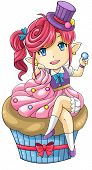 pic of nymph  - Cute cartoon cupcake nymph the goddess of dessert create by vector - JPG