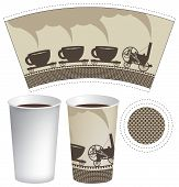 stock photo of locomotive  - pattern paper cup of tea or coffee with an old steam locomotive - JPG