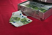 Metal suitcase full euro banknotes. A close up