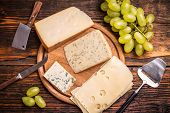 picture of cheese platter  - Cheese platter with various cheese - JPG
