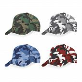 picture of camoflage  - Set of Military caps with camouflage pattern - JPG