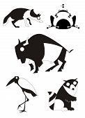 picture of aurochs  - Vector original art animal silhouettes collection for design - JPG