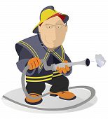 picture of fireman  - Cartoon smiling fireman with fire hose illustration - JPG