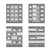 stock photo of cell block  - Set of vector facades of panel houses - JPG