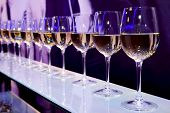 image of purple white  - Nightclub wine glasses with white wine lit by festive lights on dark - JPG