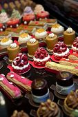stock photo of french pastry  - Various cakes and pastries in a French bakery - JPG