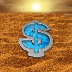 stock photo of water-saving  - Financial relief and debt help concept as a dollar sign shaped swimming pool with fresh cool water in a hot dry sand desert as a money metaphor for economic salvation or drought symbol - JPG