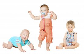 stock photo of crawl  - Children Active Growth Portrait Little Kids from 6 months to 1 year old Baby Activity Crawling Sitting and Standing Boy - JPG