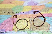 picture of alabama  - Photo of glasses on a map of USA. Focus on Alabama. May be used as illustration for traveling theme. ** Note: Soft Focus at 100%, best at smaller sizes - JPG