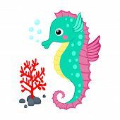 image of creatures  - Cute cartoon seahorse and red coral branch vector illustration Tropical sea life theme illustration Cartoon sea creatures vector graphic - JPG