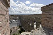 image of aqueduct  - View of the old town and the roman aqueduct in Segovia Spain - JPG