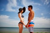 foto of amor  - Amorous couple spending vacation by the sea - JPG
