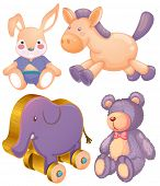 picture of stuffed animals  - Stuffed animals and wooden elephant toy - JPG