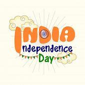 stock photo of ashoka  - Beautiful greeting card design for Indian Independence Day celebration with Ashoka Wheel - JPG