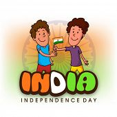 picture of ashoka  - Cute happy boy giving national flag to his friend and celebrating Happy Indian Independence Day on Ashoka Wheel decorated national flag color background - JPG