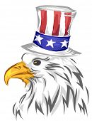 picture of top-hat  - Illustration of Bald Eagle Wearing a Top Hat Designed with the American Flag - JPG