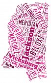 picture of natchez  - Word Cloud in the shape of Mississippi showing some of the cities in the state - JPG