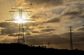 foto of electricity pylon  - High Voltage Electric Transmission Tower Energy Pylon - JPG